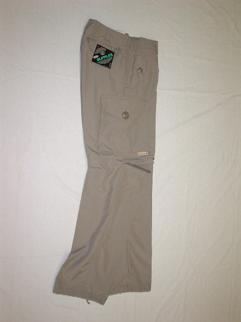 Taupe nylon convertible combat style pant