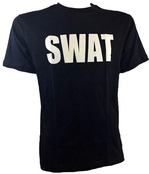 Black t-shirt with SWAT logo
