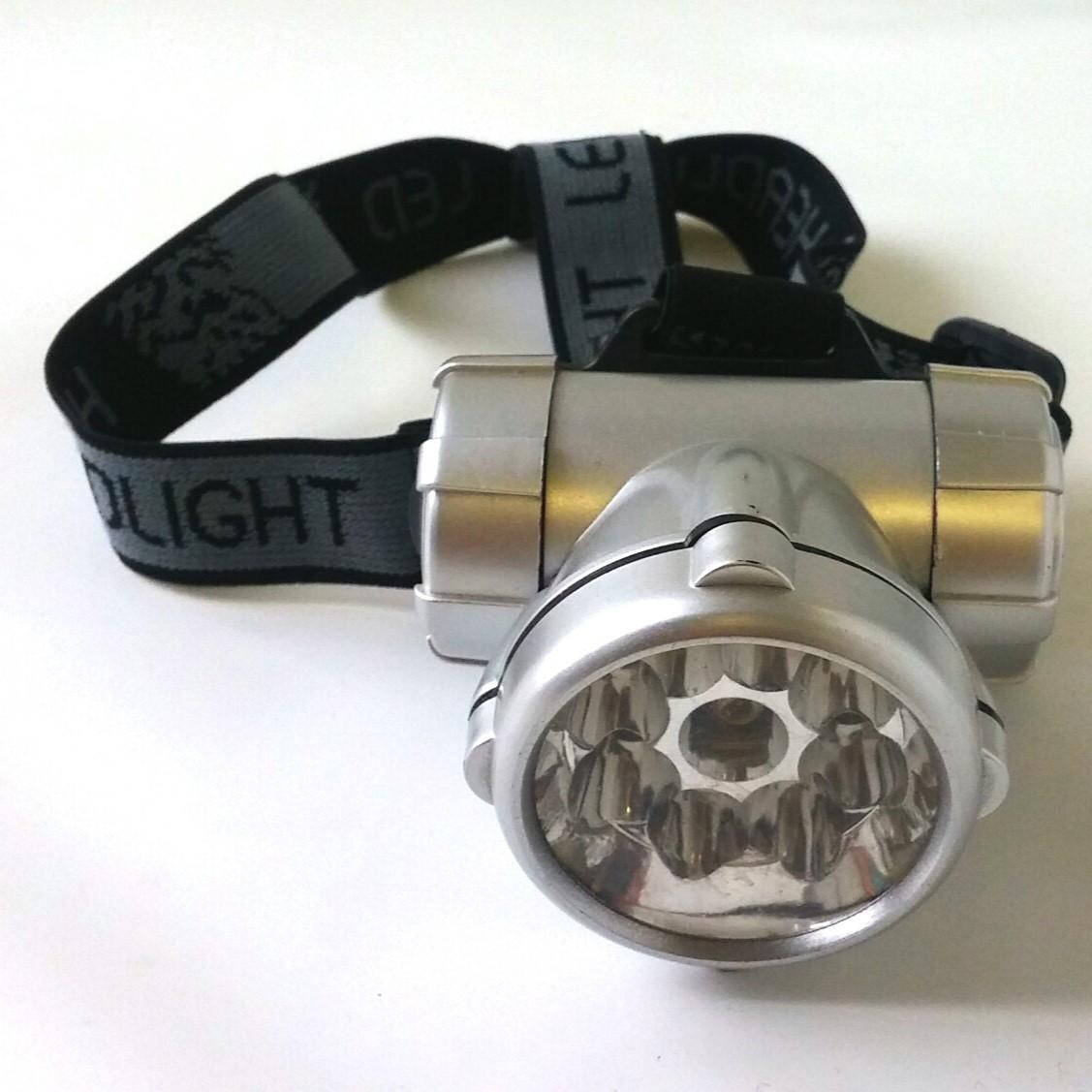 Lampe frontale 8 leds + pointeur laser