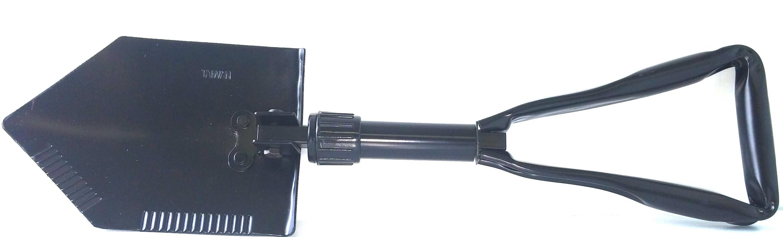 Black double folding shovel