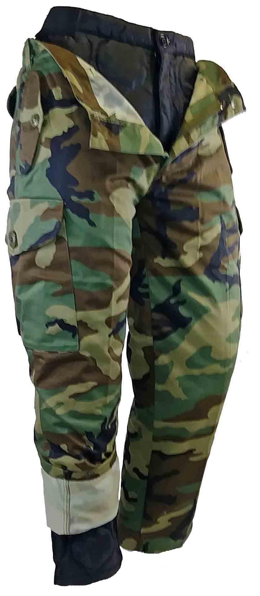 Pantalon camo vert de style combat doublé