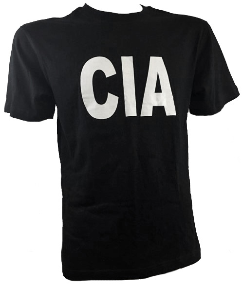 Black t-shirt with CIA logo