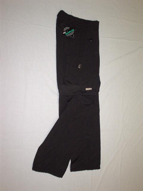 Black nylon convertible combat style pant